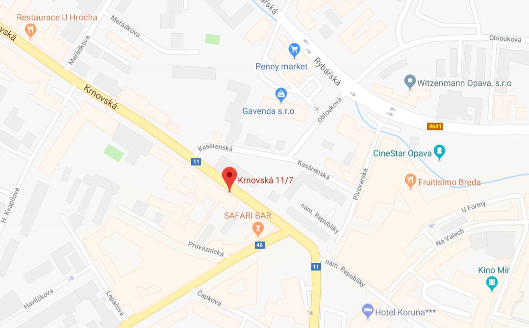 Mapa Krnovská 7, Opava